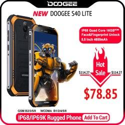 Ip68 doogee s40 lite quad core 2 gb 16 gb android 9.0 telefone celular robusto 5.5 polegada display 4650 mah 8.0mp impressão digital