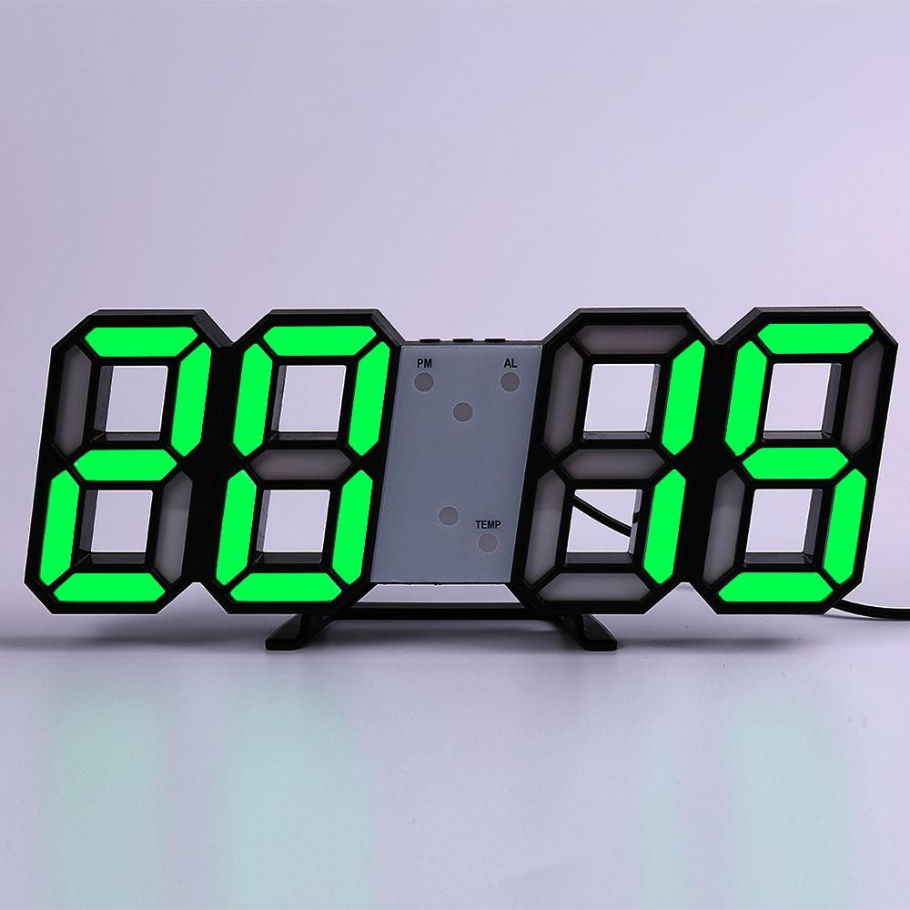 Wall Clock Watch Clock 3D Led Digital  Modern Design  Living Room Decor Table Alarm Nightlight Luminous Desktop 34