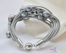 "914 + + + 15row 8 ""13mm bracelet en cuir noir perle de riz gris(China)"