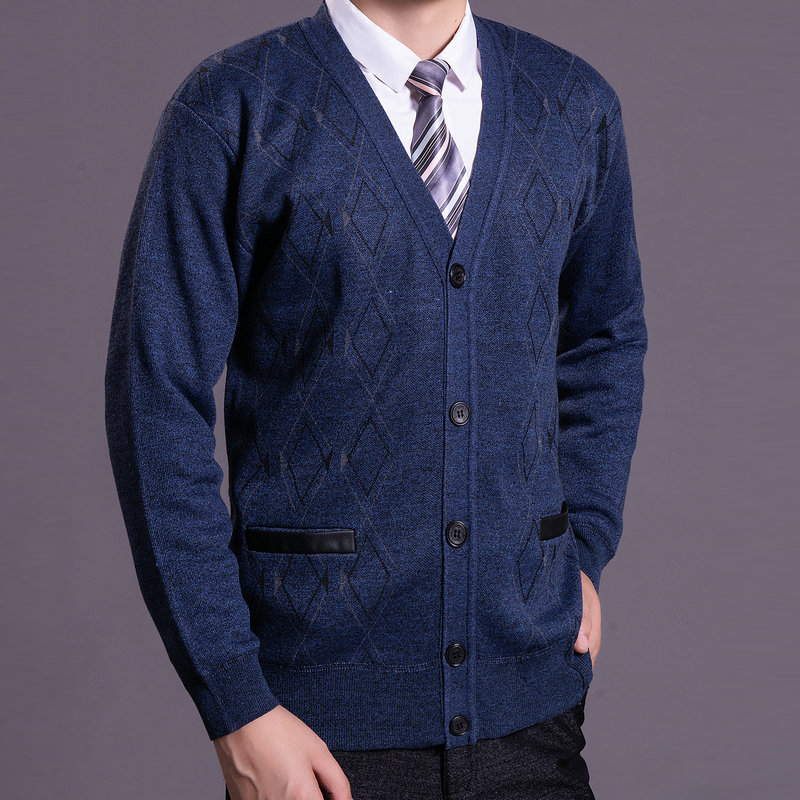 Mature Man Warm Thick Fleece Knitted Cardigan Autumn Winter V-neck Quilted Lining Wool Blend Sweaters Men Smart Casual Knitwear