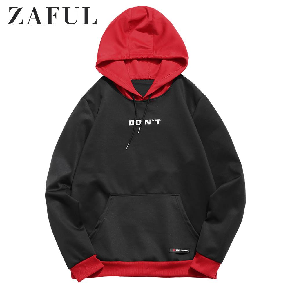 ZAFUL Contrast Letter Pocket Hoodie Color Block Pouch Printed Sweatshirts Men'S Casual Stitching Hooded Pullover Hoodie