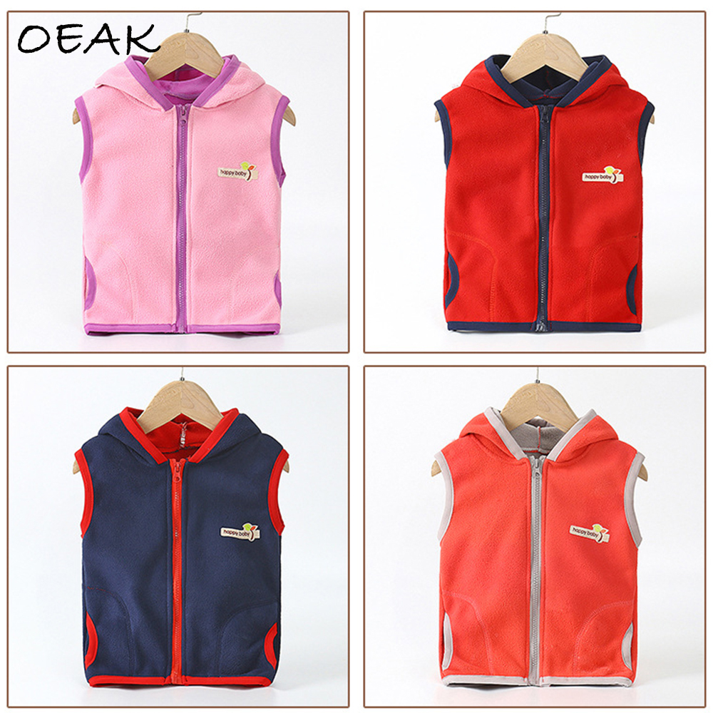 Oeak Vests Boys Sports-Jacket Waistcoat Kids Fleece Girls Autumn Children Sleeveless