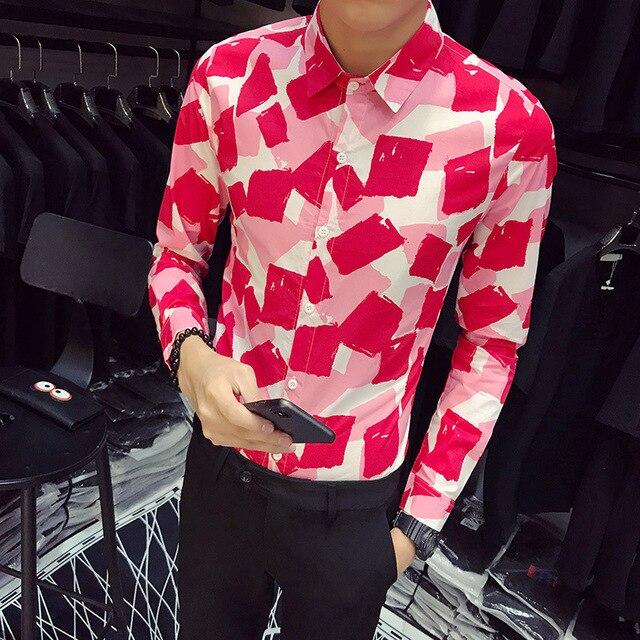Koszule męskie camisa jesień gradientowa koszula z nadrukiem