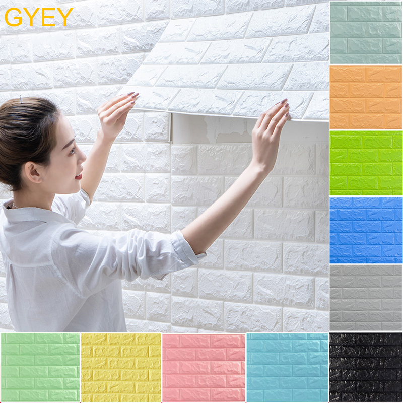 GYEY 3D Brick Wall Stickers DIY Decor Self-Adhesive Waterproof Wallpaper For Kids Room Bedroom Living Room 3D Wall Sticker Brick