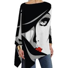 Taglie forti bianco-nero astratto Vintage top donna girocollo allentato camicie Casual in cotone manica lunga stampa T-shirt irregolare