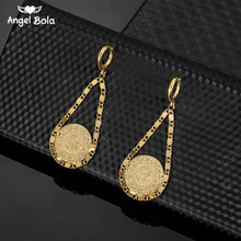 Drop Shipping Islam Muslim Ancient Coins Earrings Gold Color Arab Money Sign Turkish Allah Earring Middle Eastern Jewelry