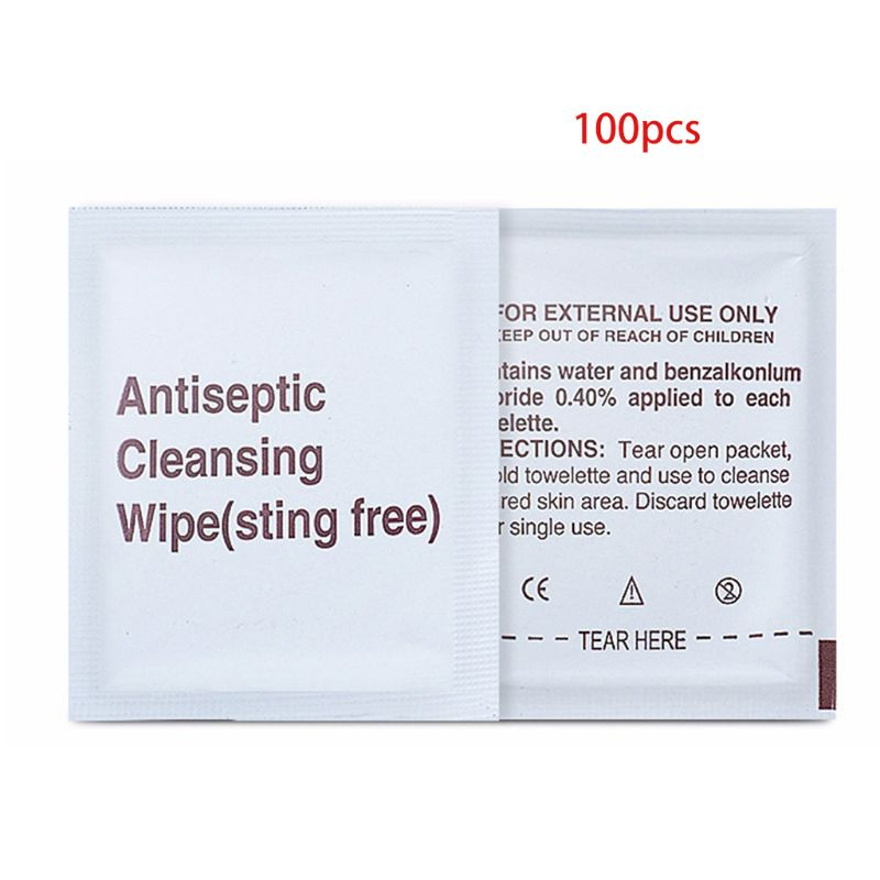 100Pcs/Box Alcohol-Free Non-Irritating Antiseptic Cleansing Wet Wipes Disposable Sterilization Disinfecting Pads Moisturizing