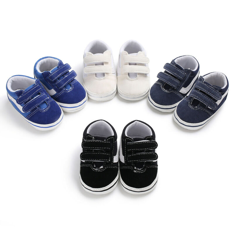 UK Newborn Baby Boys Pre-Walker Soft Sole Pram Shoes Canvas Sneakers Trainers