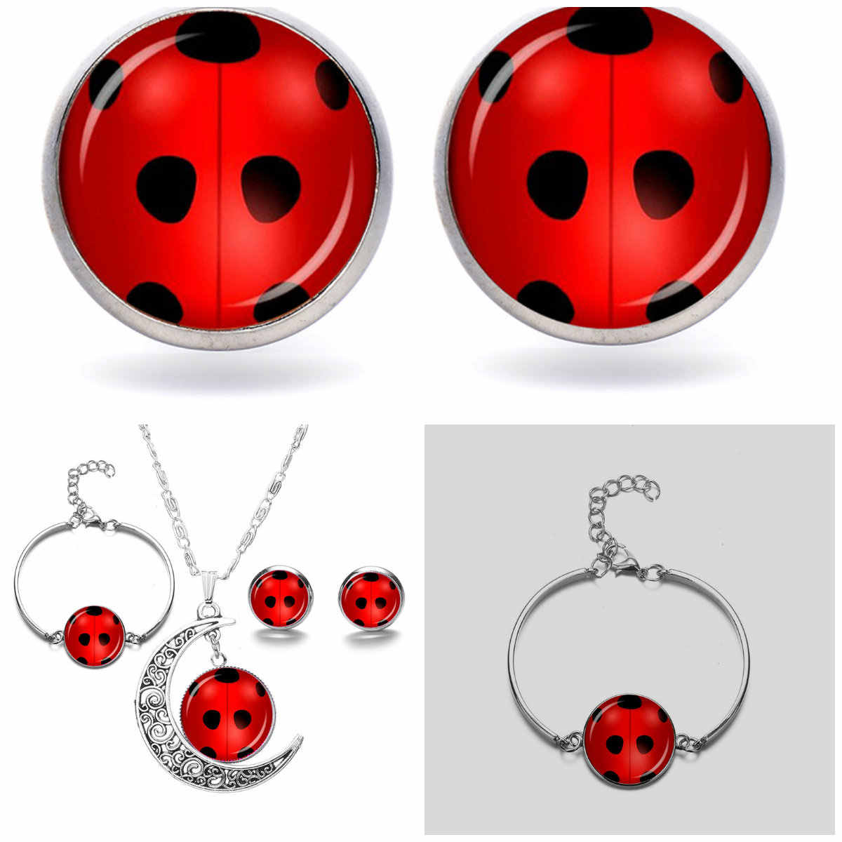 1 Set Red Ladybug Anting-Anting Kalung Gelang Perhiasan Set Warna Perak Fashion Round Pesona Pesta Kaca Permata Liontin