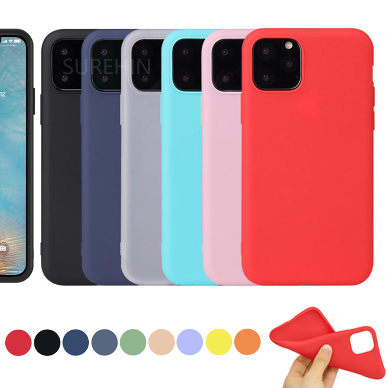 SUREHIN silicone <font><b>case</b></font> for <font><b>iPhone</b></font> 11 Pro max <font><b>case</b></font> soft XS Max XR 8 7 <font><b>6S</b></font> <font><b>plus</b></font> black blue <font><b>red</b></font> green cover for <font><b>iPhone</b></font> 11 Pro <font><b>case</b></font> image
