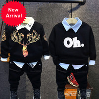 Children Boys New Autumn winter Warm Outerwear Sweatshirt + shirt + jeans boys Clothing Set Baby Kids Hoody Trousers Tracksuit
