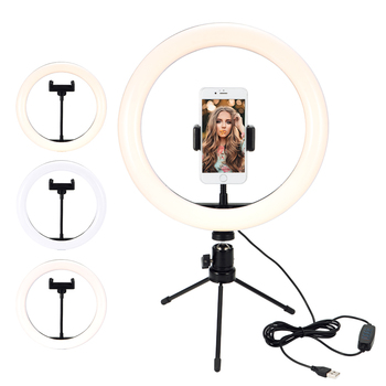 Photography LED Ring Fill Light Dimmable Camera Phone Ring Lamp With Table Tripods For Makeup Video Live Studio Lights