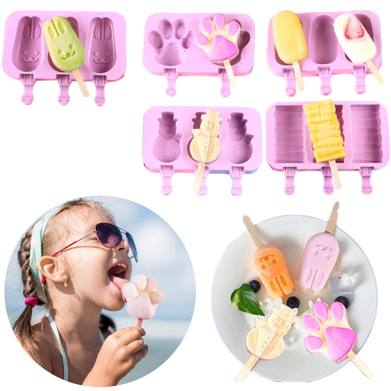 Diy caseiro dos desenhos animados sorvete bonito picolé gelo lolly maker grau alimentício silicone sorvete molde para casa acessórios de cozinha