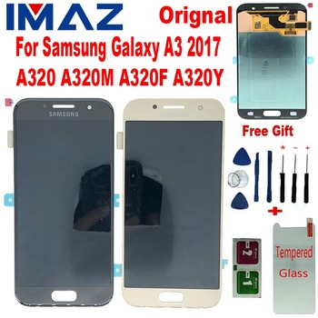 """IMAZ Original AMOLED 4.7"""" LCD For Samsung Galaxy A3 2017 A320 A320M A320F/Y LCD Display Touch Screen Digitizer Assembly a320 LCD"""