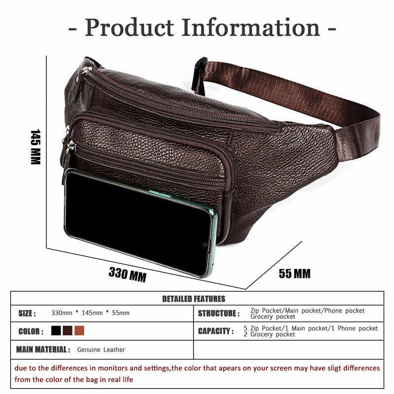 Bel çantası erkekler hakiki deri Fanny paketleri moda kemer bel çantası erkek telefon kılıfı göğüs çanta Mini bel sırt çantası baba anneler günü hediye