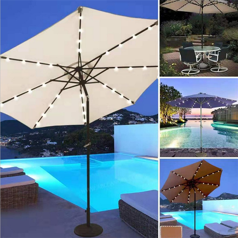72 LED Solar Parasol Light Garden Patio Table Umbrella Fairy Lights Solar Powered Outdoor Beach Decoration Lighting String Lamps