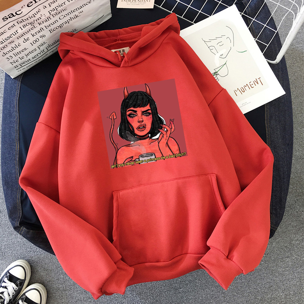 Princess Demon Funny Graphics Print Funny Hoodies Pullover Women Warm Sweatshirt Cute Streetwear Kawaii Oversized Hoodie