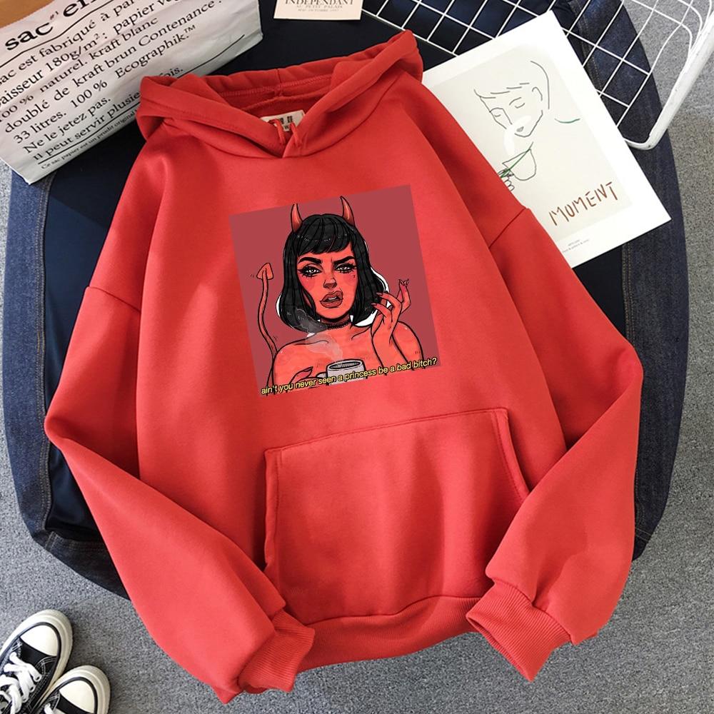 Princess Demon Funny Graphics Print Funny Hoodies Pullover Women Warm Sweatshirt Cute Streetwear Kawaii Oversized Hoodie