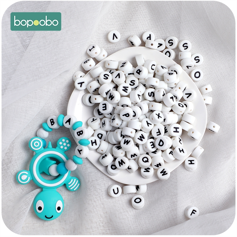 Bopoobo 100pc Silicone English Alphabet Beads Letter BPA Free Food Grade Material For DIY Baby Teething Necklace Baby Teether