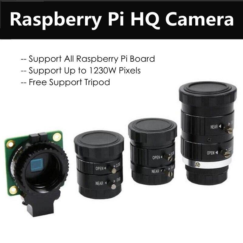 Оригинальный Raspberry Pi HQ модуль камеры с тройным 6 мм широкоугольным объективом Len 16 мм HD телеобъектив Поддержка до 1230 Вт пикселей для RPI