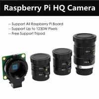Módulo de cámara Raspberry Pi HQ Original con triple lente gran angular de 6mm lente teleobjetivo HD de 16mm compatible con hasta 1230W pixeles para RPI