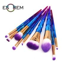 ESOREM 10pcs Unicorn Cosmetic Brush Set Gradient Makeup Brushes Flat Blending Small Contour Angled Foundation Pincel Maquiagem