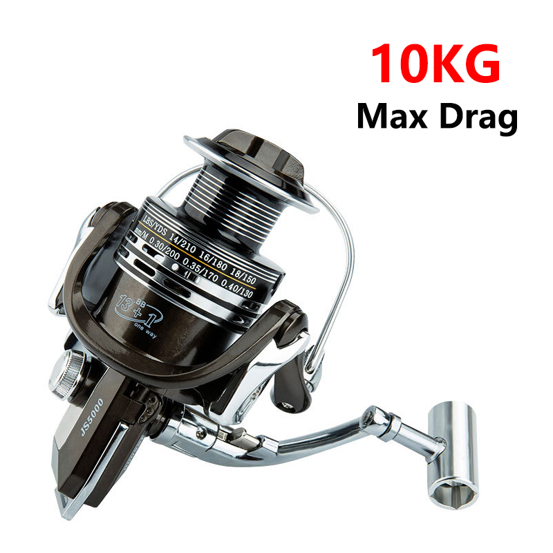 NEW-Style 1000-7000 Series All Metal Fishing Reel Spinning Wheel 10kg Max Drag Reel Fishing 5.2:1 High Speed Spool Distant Reel