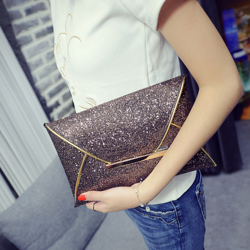 LOOZYKIT Women Evening Bag Pouch Sequins Envelope Black Handbag Sparkling Party Bag Solid Wedding Day Clutches Gold Purses