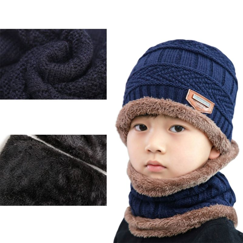 Adult Kids Winter Chunky Cable Knit Faux Fleece Lined Warm Beanie Hat Scarf Set