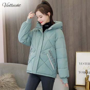 Vielleicht Women Winter Jacket Loose Parkas Patchwork Thickening Warm Coat Hooded Female Down Cotton-padded Short Jacket Coat women s thick warm long winter jacket women parkas hooded cotton padded winter coat female