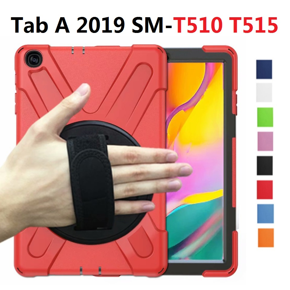 <font><b>360</b></font> Armor For Samsung Galaxy Tab A <font><b>10.1</b></font> 2019 SM-T510 T515 Case Hand Strap Shockproof Stand PC for Samsung Tab A <font><b>10.1</b></font> T510 Case image