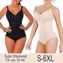 New Womens Plus Size Bodysuit Shapewear Slimming Tummy Control Full Body Shaper Panty Style Clip & Zip with Bra Waist Belt Fajas