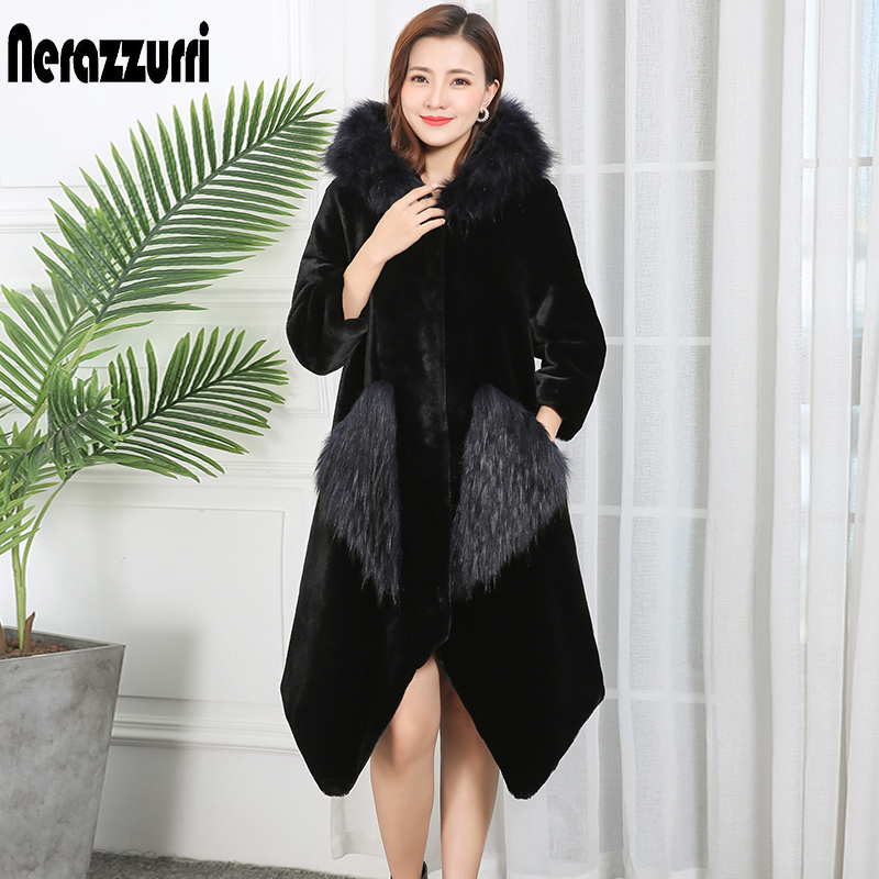 Nerazzurri Womens Faux Fur Jacket With Fox Fur Trim Hood Raglan Sleeve Front Fur Pockets Irregular Fluffy Faux Fur Coat Women