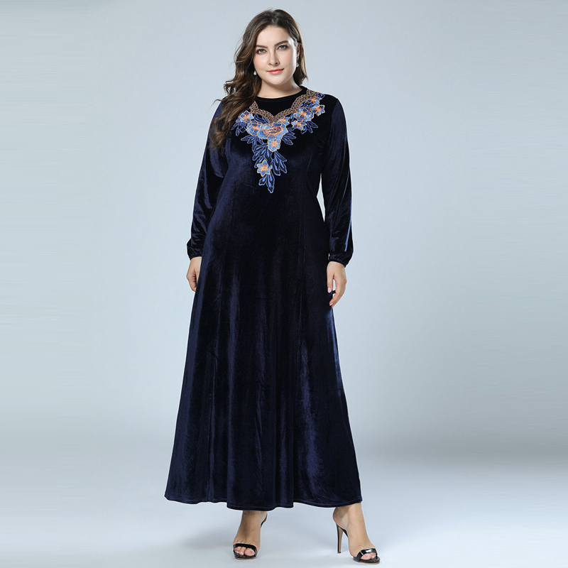 Plus Size Velvet Winter Abaya Muslim Maxi Dress Islamic Arabic Abayas Long Sleeve Dress Pakistani Dubai Dresses for Women M-4XL Платье