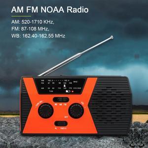 Image 2 - RETEKESS HR12W FM AM NOAA SOS Portable Emergency Radio Waterproof LED Lighting Hand Crank Solar Radio Receiver For Camping