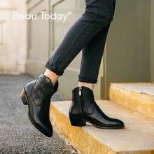 Beautoday 발목 부츠 여성 정품 암소 가죽 레트로 바느질 지적 발가락 지퍼 클로저 레이디 겨울 부츠 수제 03802