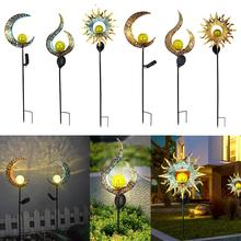 Solar LED Flame Light Waterproof Retro Iron Garden Lawn Lamp Outdoor Garden Landscape Decor Lighting Sun Moon Flame Dropshipping