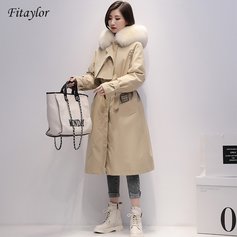 Fitaylor Winter Long Parkas Women 90% White Duck Down Jackets Real Large Fox Fur Hooded Warm Coat Snow Outwear