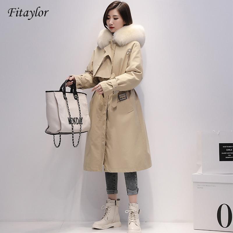 Fitaylor Winter Long Parkas Women 90% White Duck Down Jackets Real Large Fox Fur Hooded Warm Coat Snow Outwear