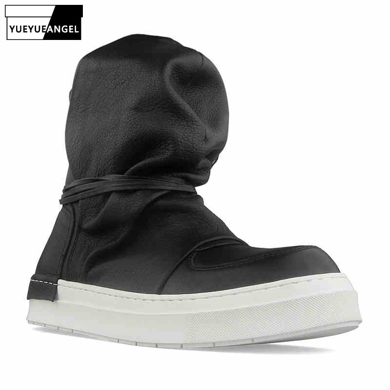 High Street High-Top Shoes Men Luxury Cowhide Platform Sneakers 2020 Autumn Round Toe Punk Gothic White/Black Shoes Trainers