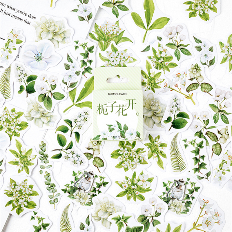 46pcs Gardenia Stickers Set 44mm Mini Jasmine Flower Sticker For DIY Decoration Seal Adhesive Album Diary Child Kids Gift A6384
