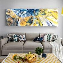 Самодельные желтые синие абстрактные линии картины Современные