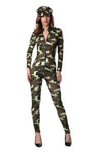 Image 4 - Sexy delle donne Army Military Air Force Pilota di Volo Camouflage Tuta Costume Chiusura Anteriore Catsuit Tuta Uniforme Per La Signora