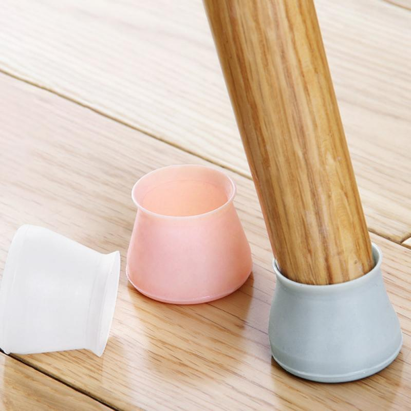 4pcs /set Pratical Silicone Chair Leg Protector Pratical Silicone Solid Wood Wear Pad Mute Wear-resistant Chair Foot Cover