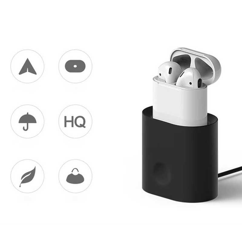 ソフトシリコンイヤホンケースアップル Airpods ケース Bluetooth ワイヤレスイヤホンミニポータブルデスク用充電ポッド耳ケース