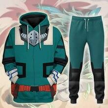 Anime boku nenhum herói academia midoriya izuku cosplay traje camiseta moletom com capuz 3d impresso calças uniformes de poliéster