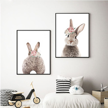 2 panels Minimalist Bunny Rabbit Wall Art Painting Print And Poster Nursery Pictures for Living Room Kids Decoration