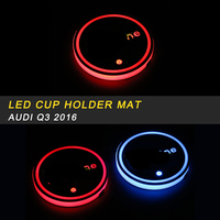 Car Styling LED Light Drink Cup Holder Pad Mat Trim Sticker Interior Accessories for Audi Q3 8U 2016 2017 2018