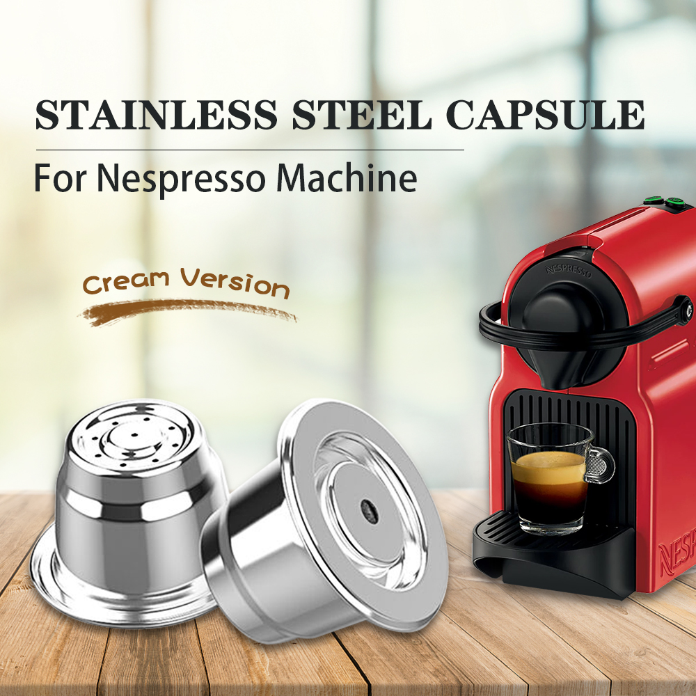 Cream Nespresso Refillable Coffee Capsule Pod Stainless Steel Espresso Coffee Filter Tamper Capsule Reutilisable Coffeeware(China)
