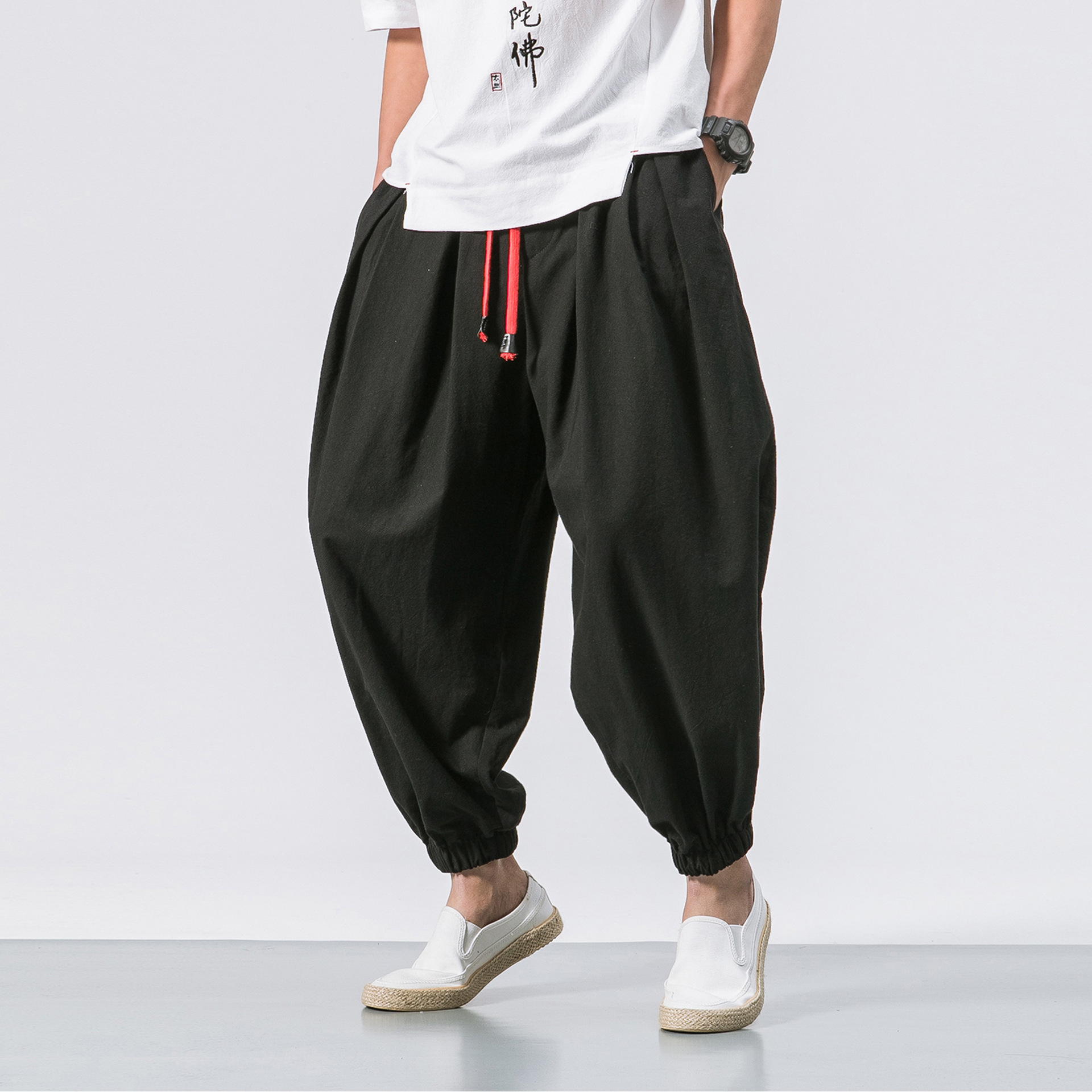 Summer Wear Loose Thin Back Rise Width Trousers Men's Japanese-style Solid Color Trousers Cotton Linen Harem Loose And Plus-size